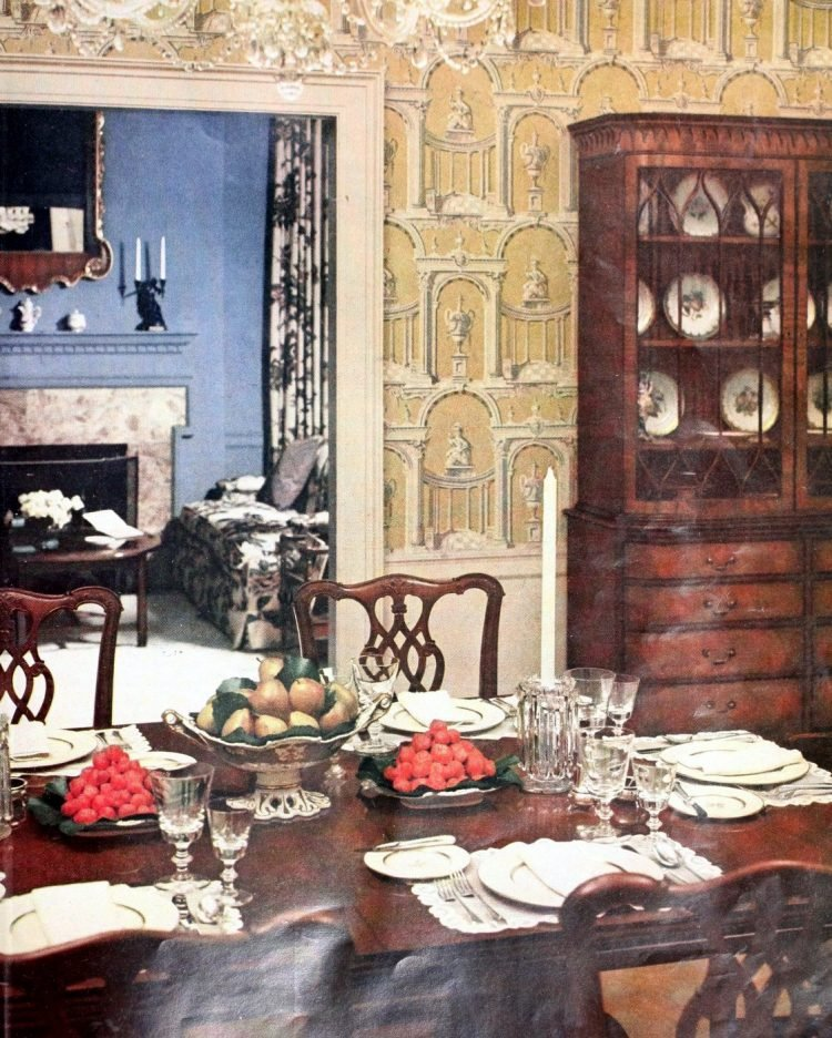 Traditional dining table arrangement from the 1950s
