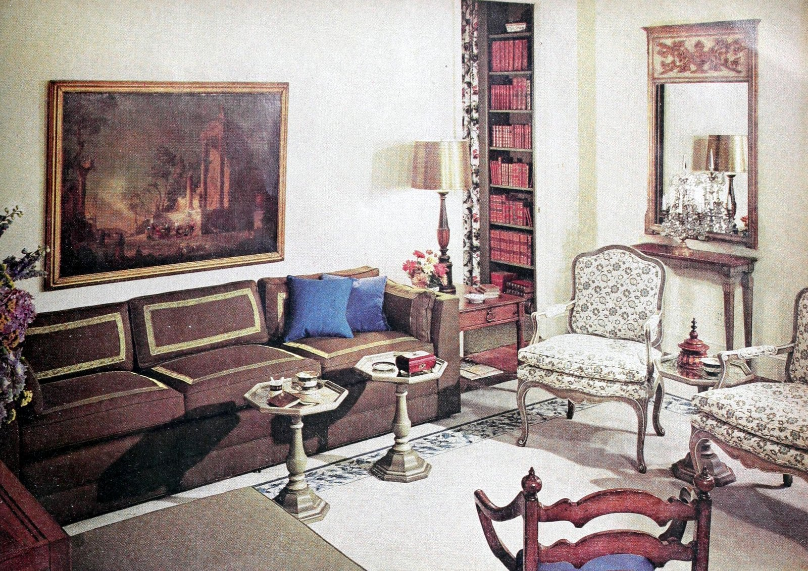 Traditional living room furnishings in a 1960s home