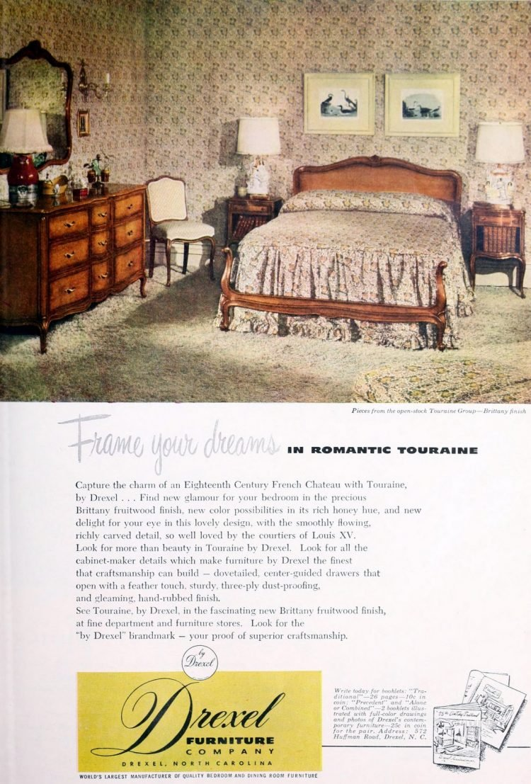 Traditional-style master bedroom decor from 1950