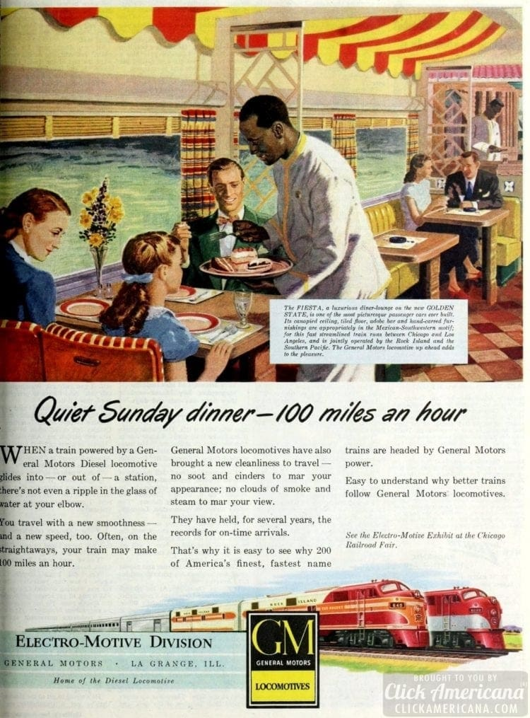 Trains of 1948 - Dining cars on GM locomotives