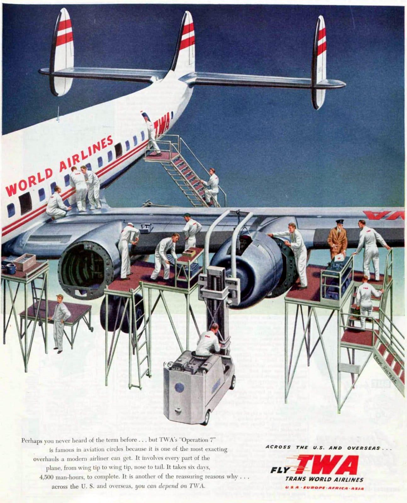 Trans-World propeller plane in maintenance - 1952 (1)