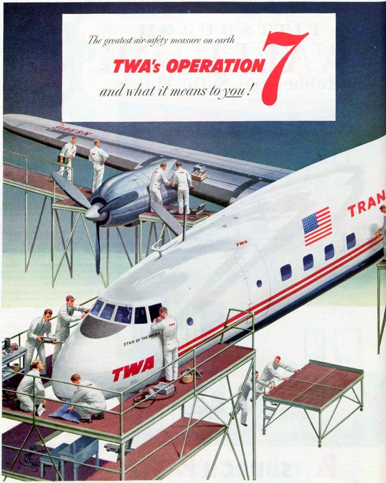 Trans-World propeller plane in maintenance - 1952 (2)