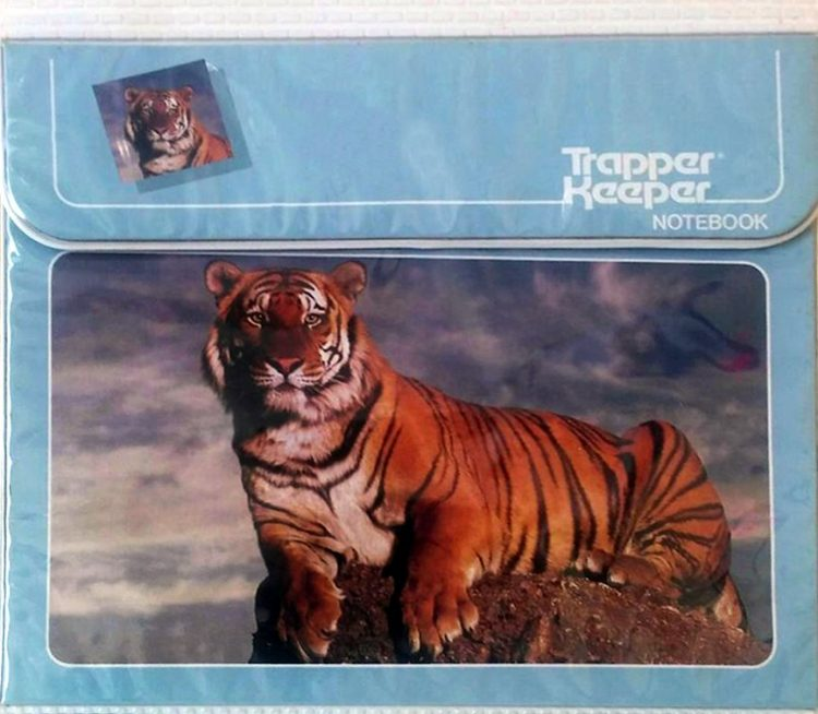 Trapper keeper binder with tiger