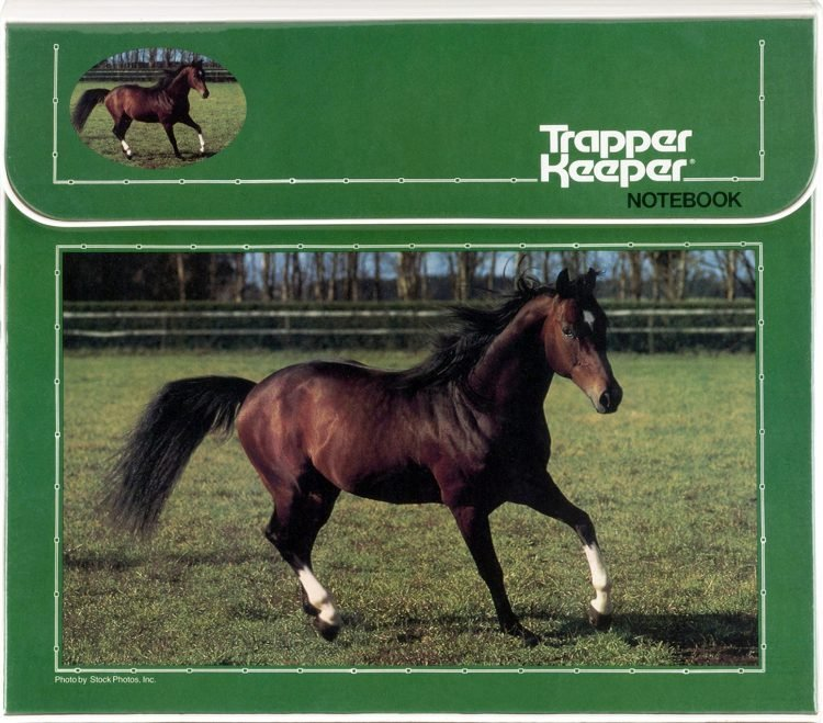 Trapper keeper - green with horse
