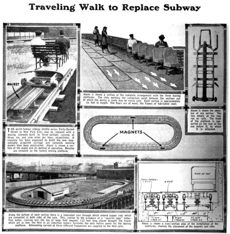 Traveling walk to replace subway - 1923