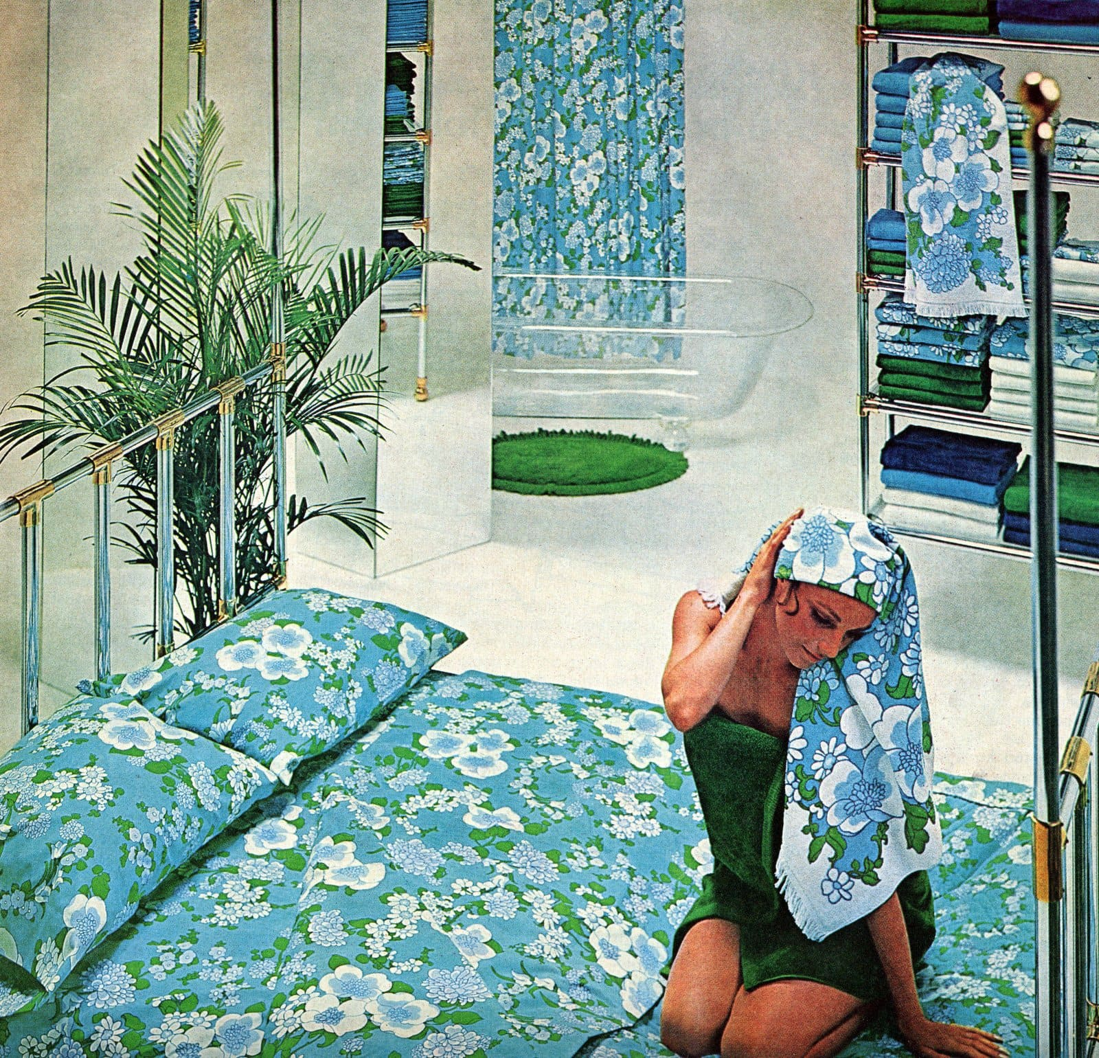 Trendy 1970s blue floral sheets and towels in blue and green large flower pattern - Serenity blue