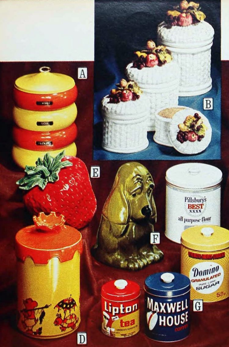Trendy kitschy kitchen canisters from the 1970s