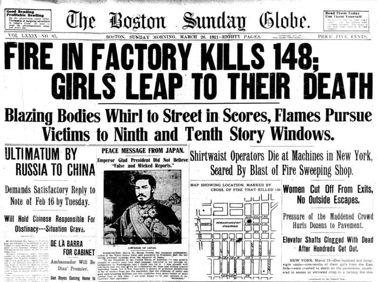 Triangle Shirtwaist Factory fire - Boston Globe newspaper headline - March 26 1911.jpg