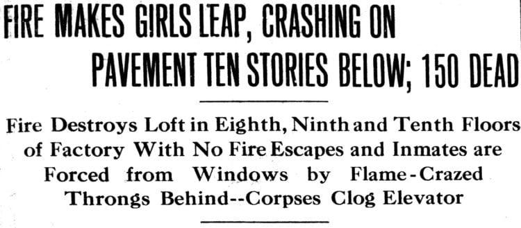 Triangle Shirtwaist Factory fire - Oregon Statesman-Journal newspaper headline - March 26 1911.jpg