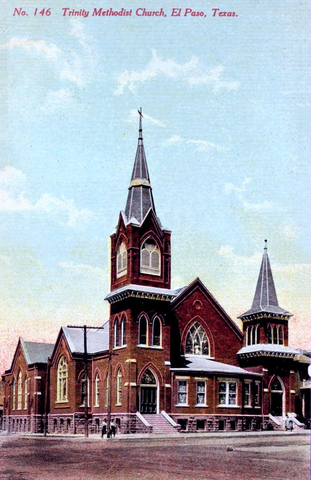 Trinity Methodist Church in El Paso, Texas - Vintage postcard