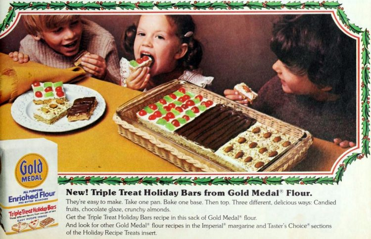 Triple Treat holiday bars Old-fashioned 3-in-1 pan cookies (1973)