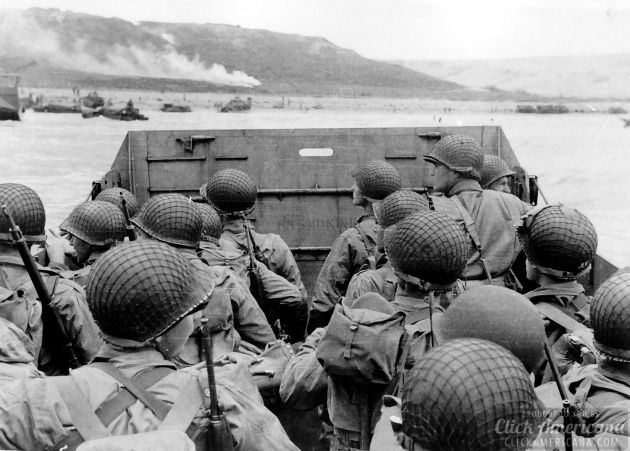 Troops in an LCVP landing craft approaching Omaha Beach on D-Day 6 June 1944