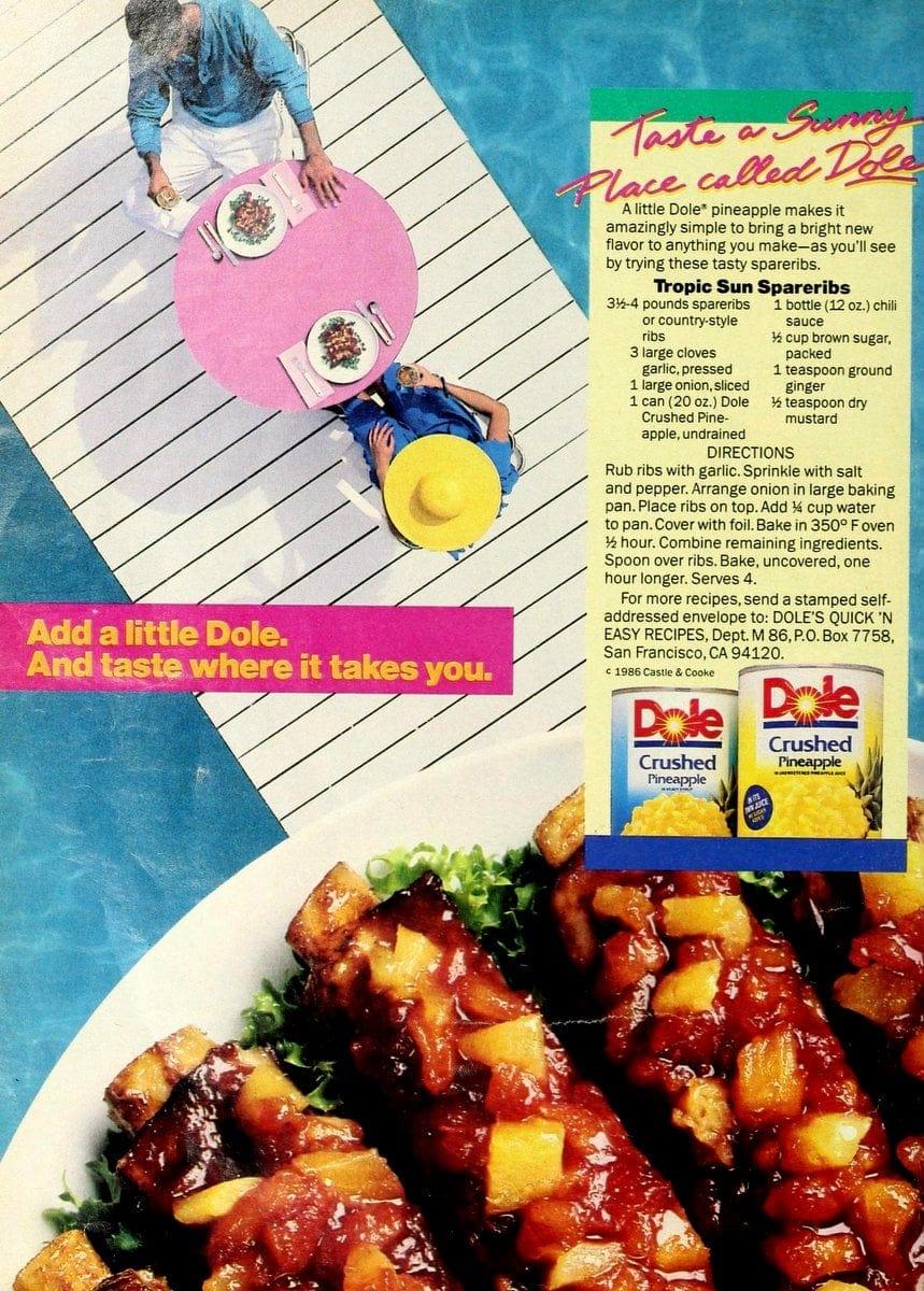 Tropic Sun Spareribs recipe (1986)
