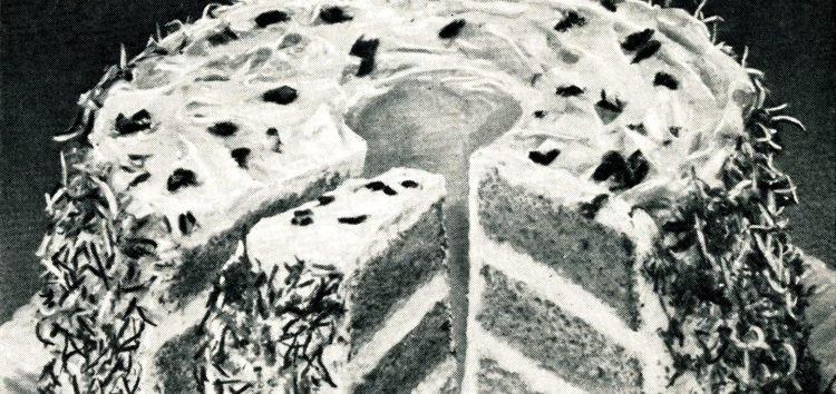 Tropical treat chiffon cake with pineapple-coconut icing (1950)