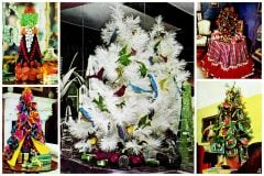 Try a retro tabletop Christmas tree for a little festivity on a small scale, '70s-style