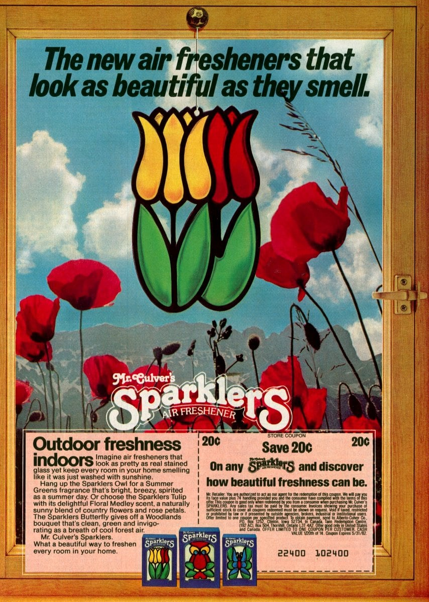 Tulip flowers - Mr Culver's Sparklers stained glass air fresheners (1981)