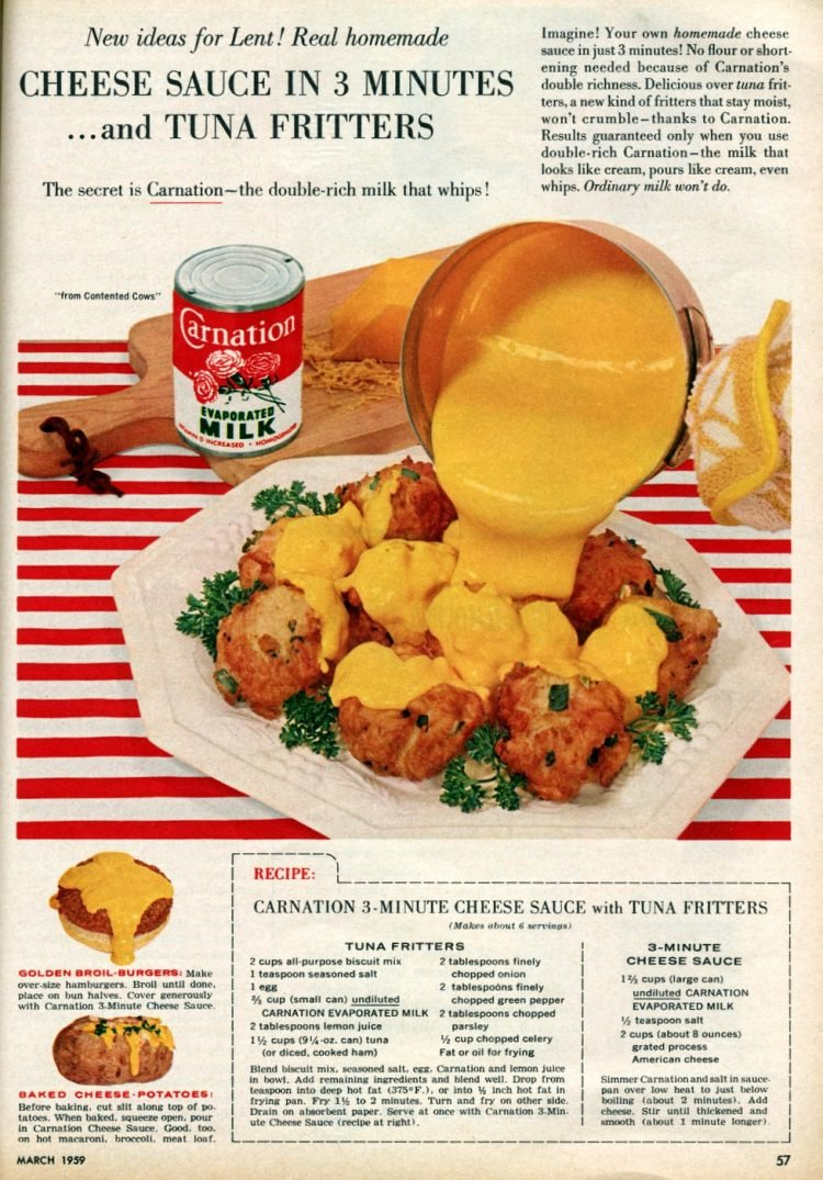 Tuna fritters with cheese sauce recipe (1959)