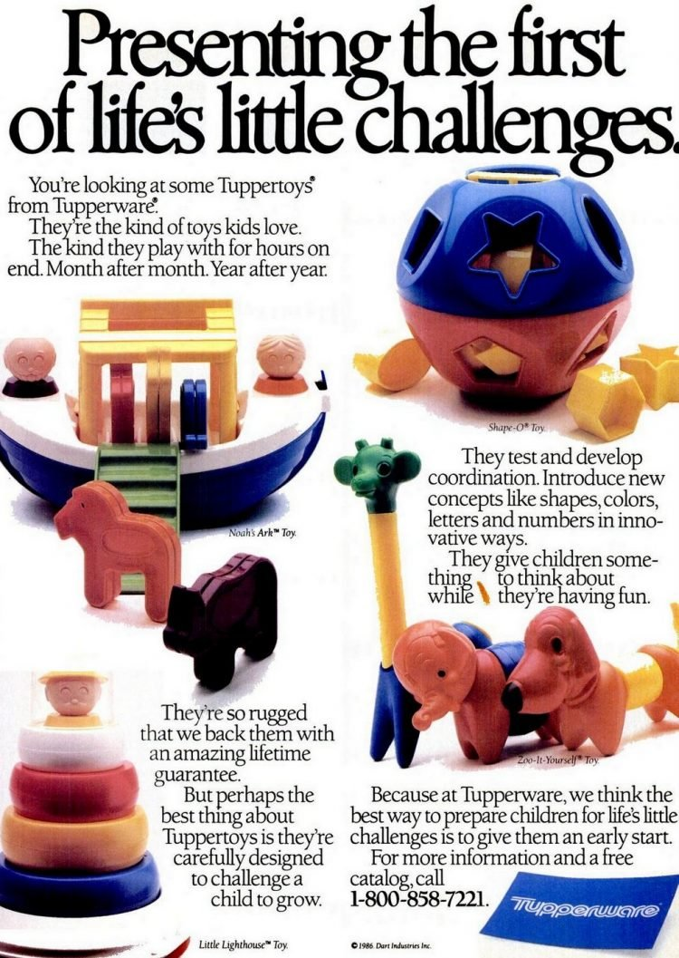 Shape-O, Noah's Ark, Little Lighthouse, Zoo-it-Yourself Tuppertoys from 1986
