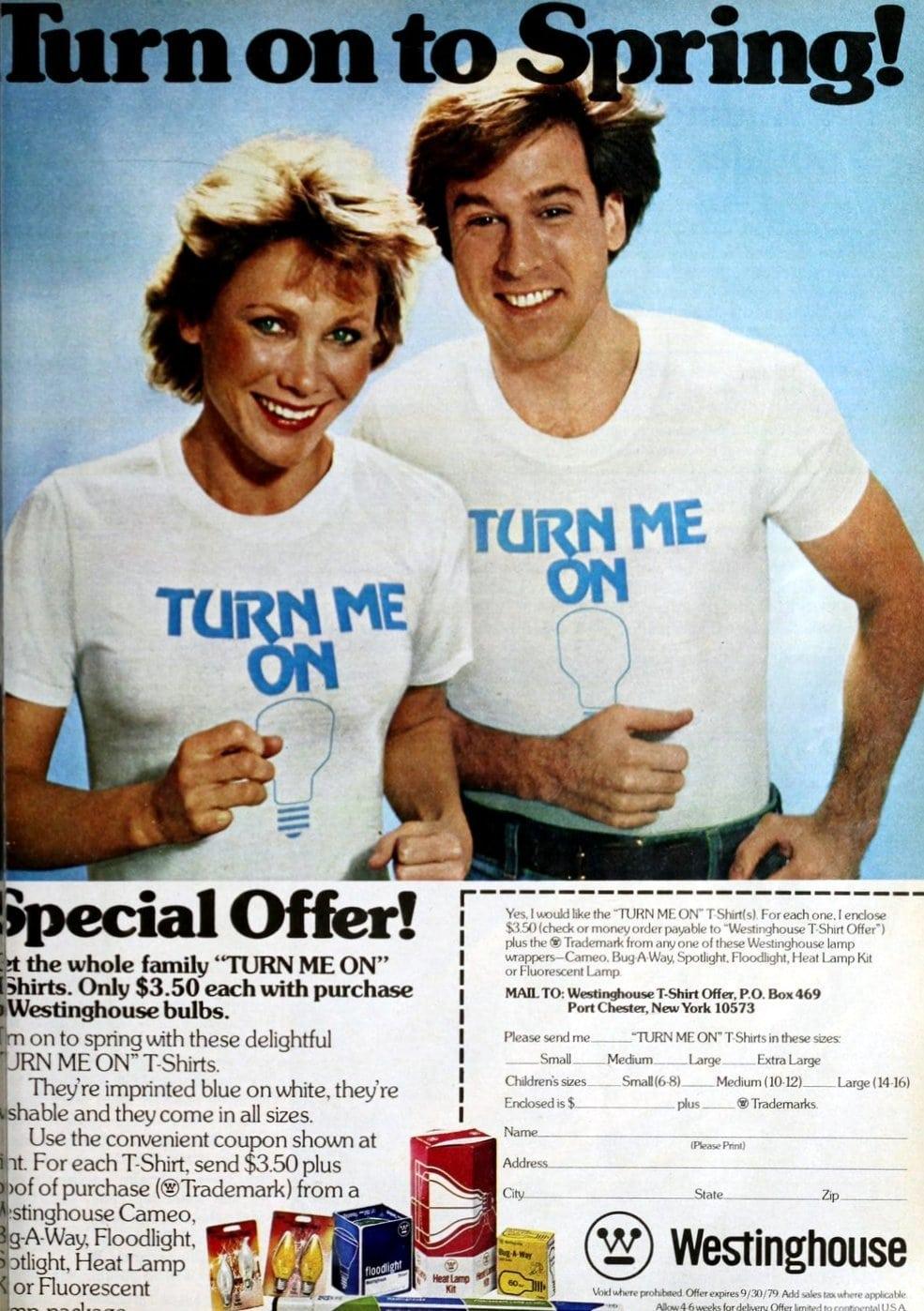 Turn me on - Lightbulb T-shirts from 1979