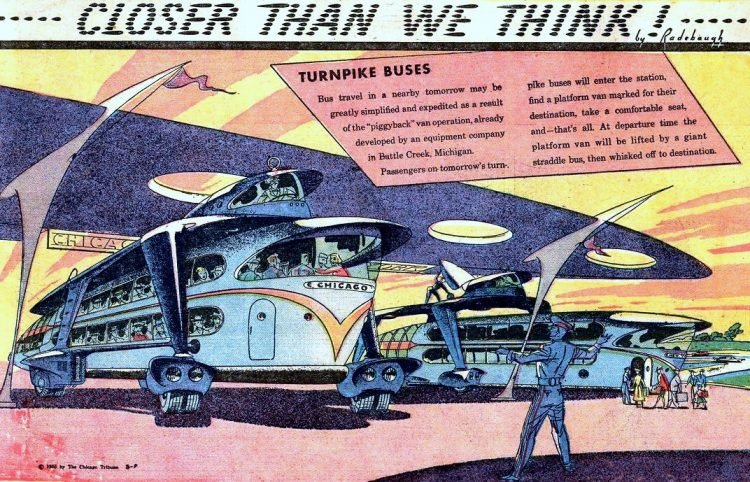 Turnpike buses- Futuristic vintage cartoon