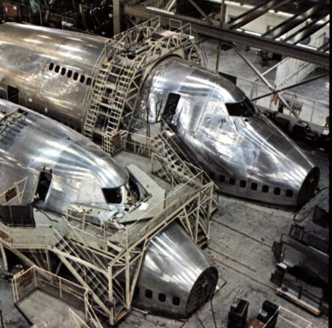 Two Boeing 747s in final assembly (1974)