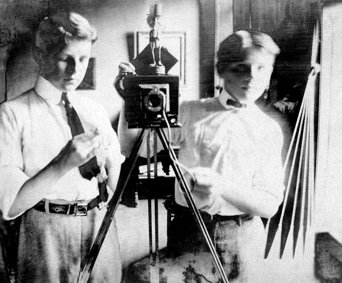 Two boys mirror self-portrait - (c1930) at ClickAmericana com