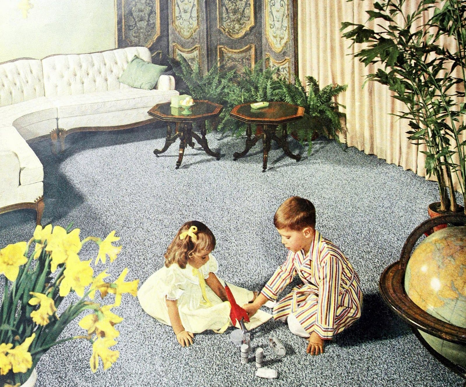 Two kids playing on wall-to-wall carpeted living room (1960)