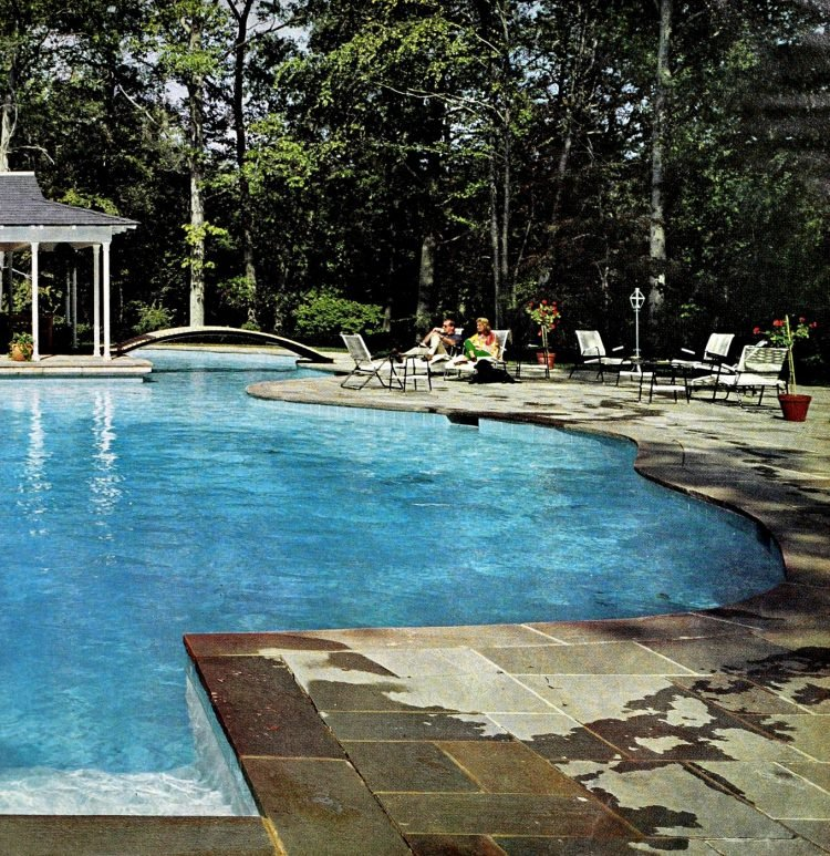 Two-part blue backyard swimming pool - Mill Neck NY (1966)