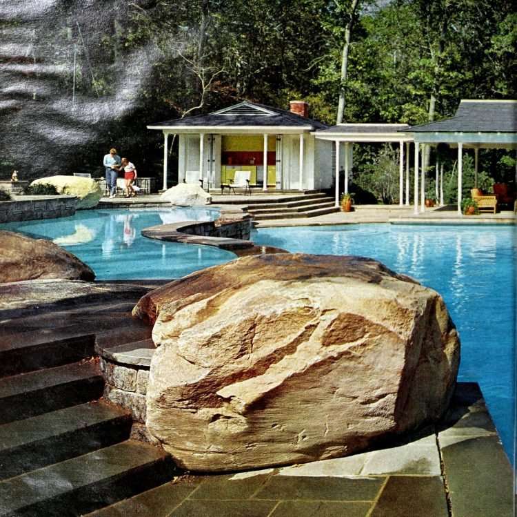 Two-part blue backyard swimming pools - Mill Neck NY (1968)
