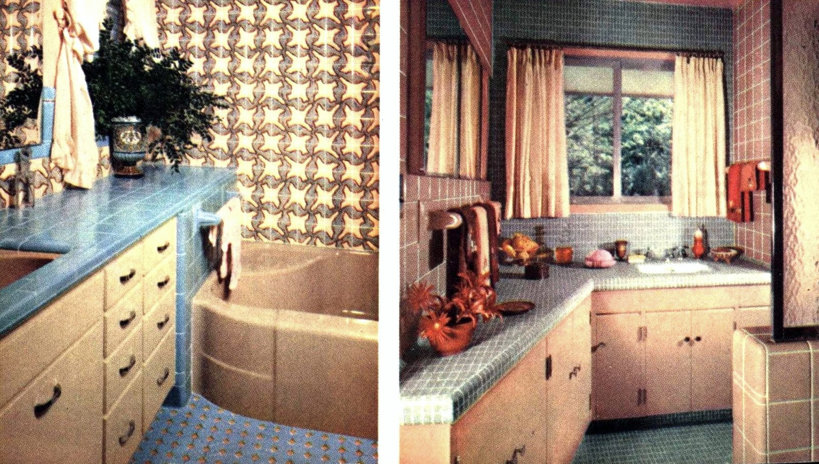 Two tiled bathroom designs from the fifties