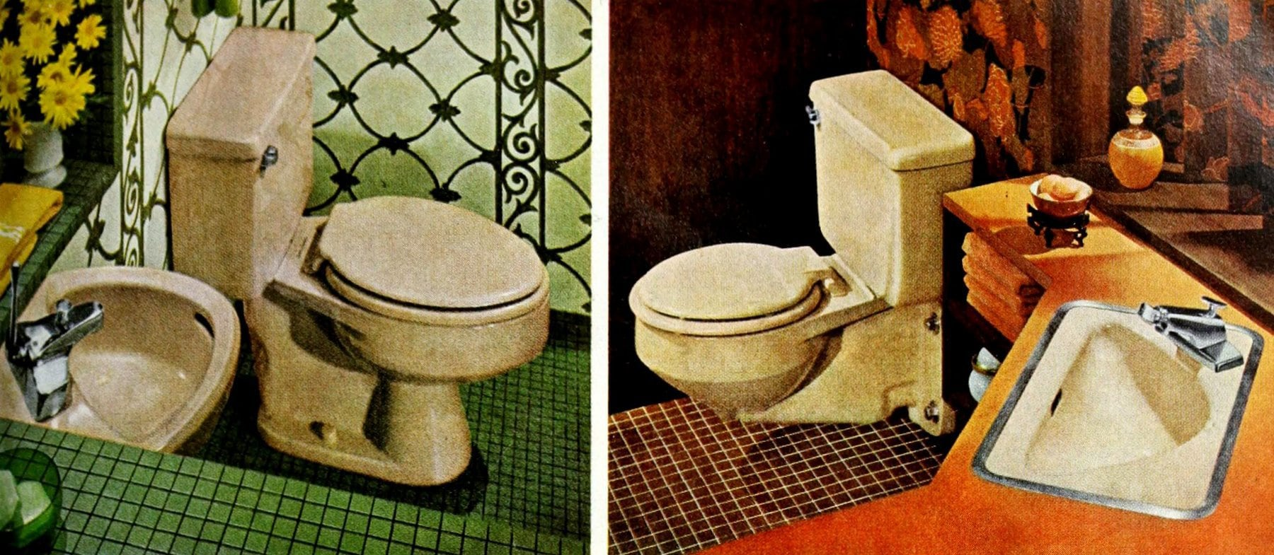 Two vintage powder rooms from 1964