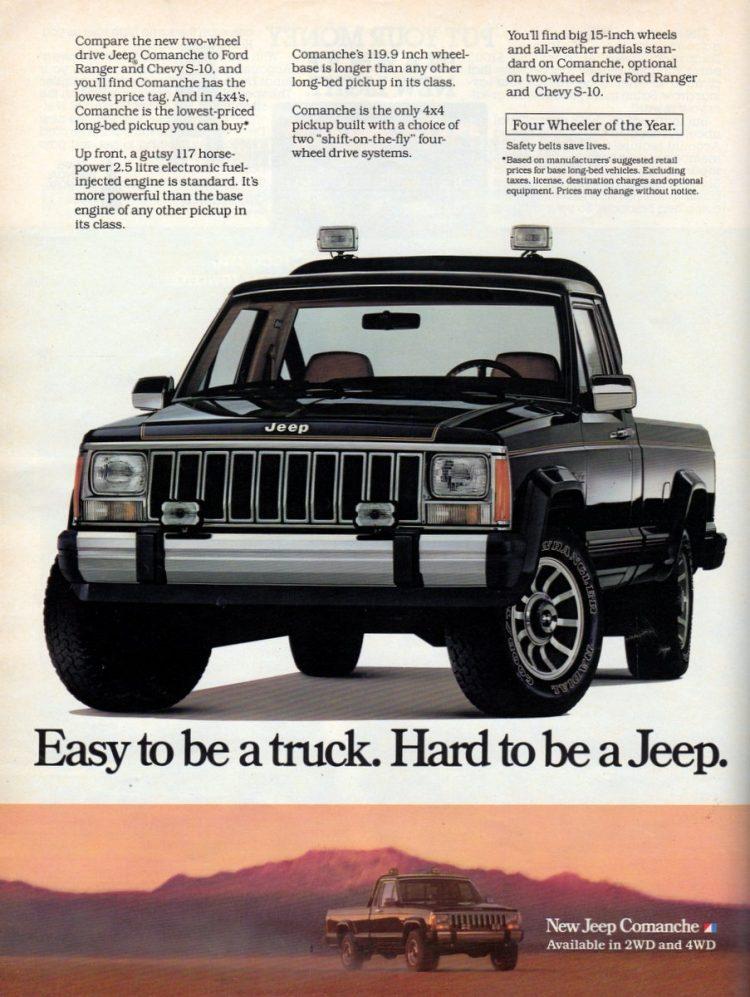 Two-wheel drive Jeep Comanche pickup truck (1986)