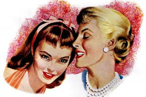 Two women gossiping 1950s
