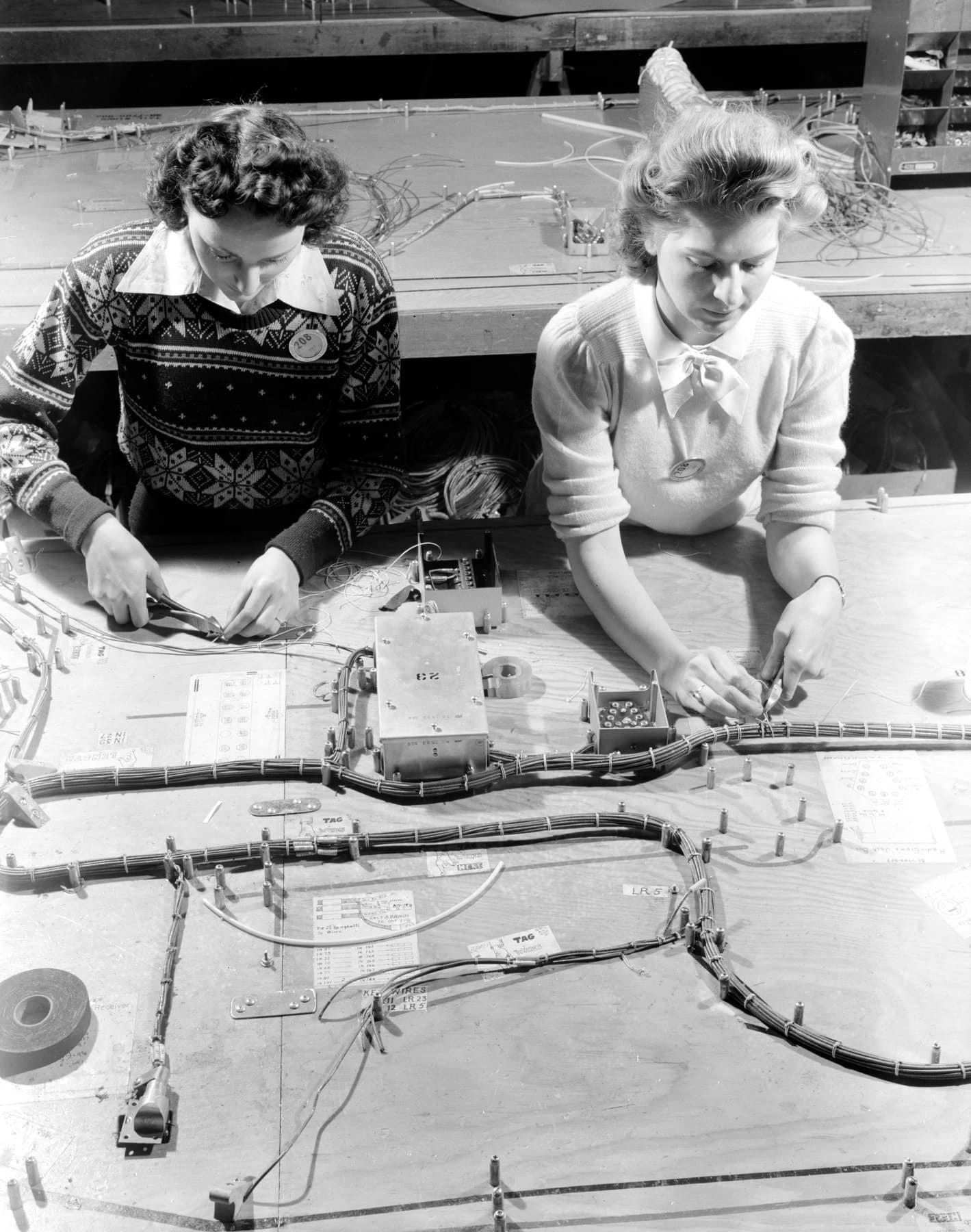 Two women making electrical wiring assemblies for B-17F (1942)