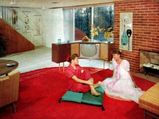 Typical 1950s suburban home - downstairs family room