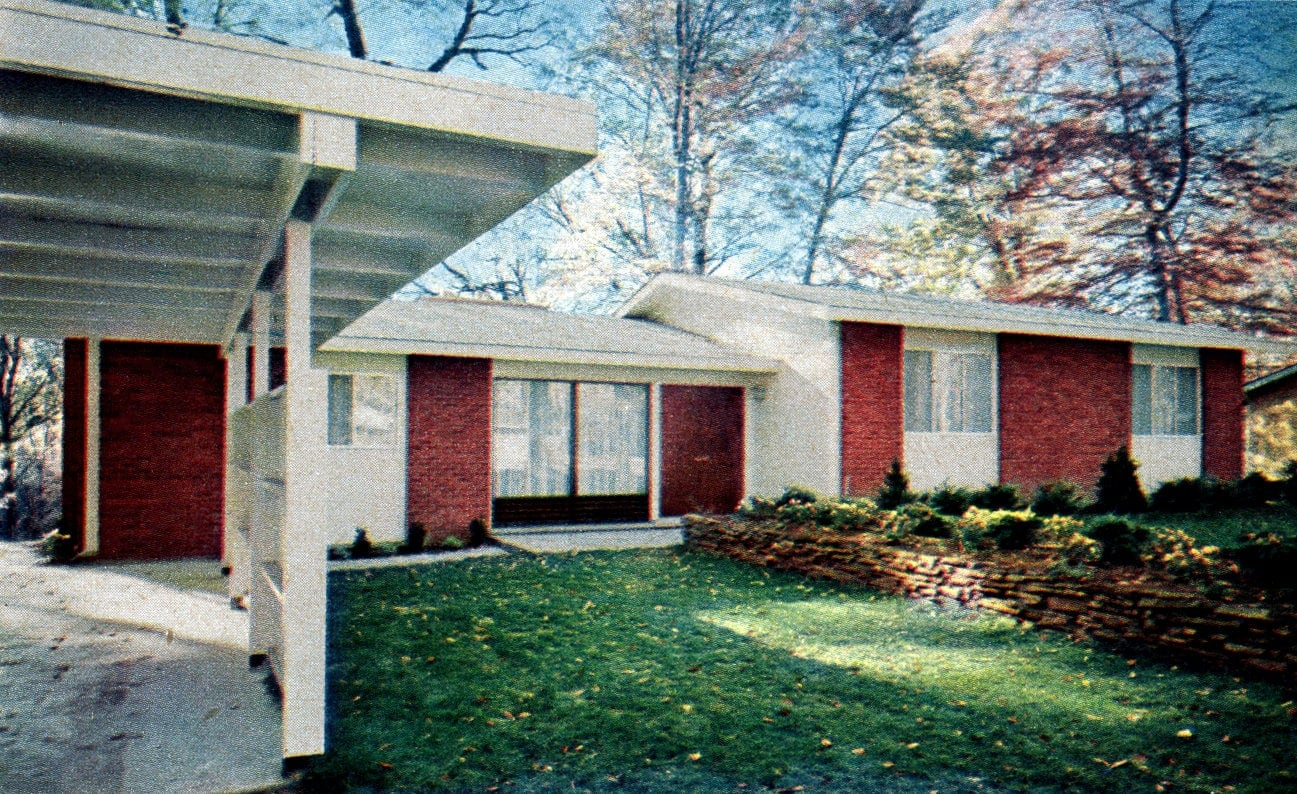 Typical 1950s suburban home - front entrance and carport
