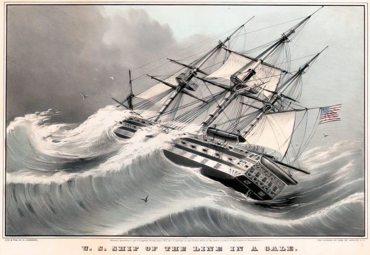 U.S. ship of the line in a gale 1847