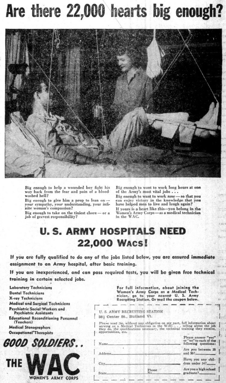 US Army hospitals need 22000 WACs - March 1945