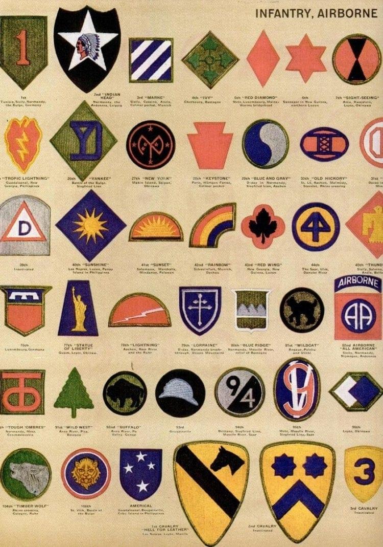 AMERICAN MILITARY SHOULDER BADGES 70/'s 80/'s or earlier