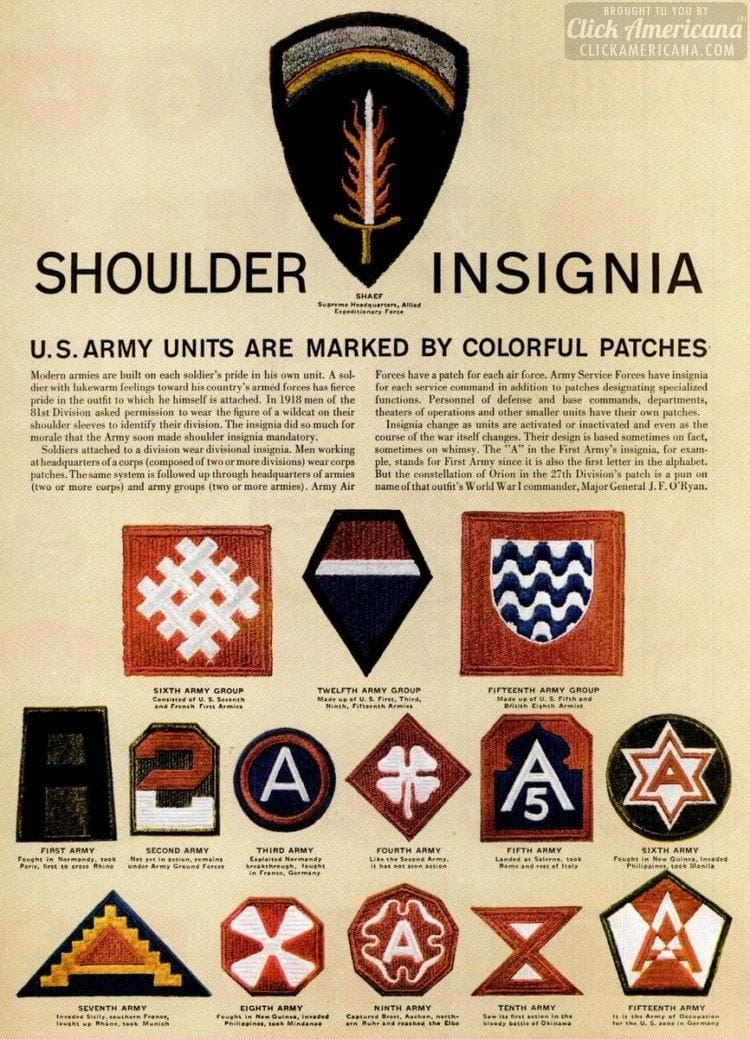 See dozens of vintage US Army & Navy shoulder insignia, plus