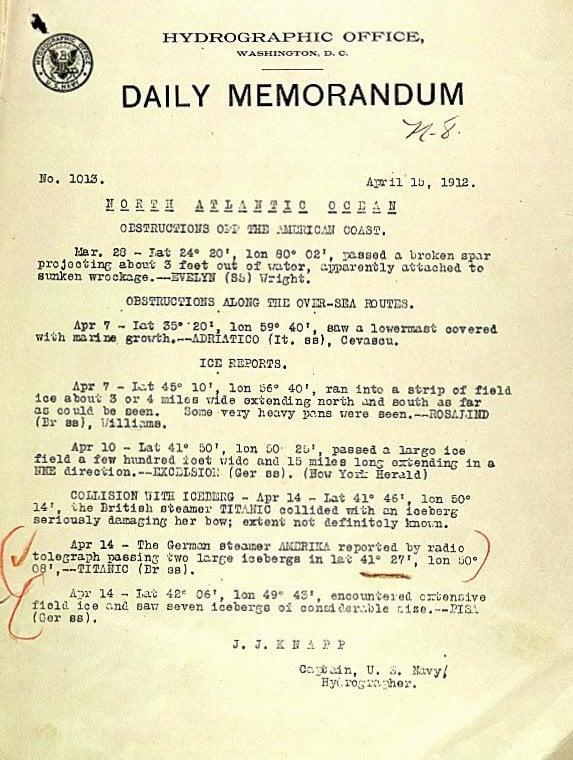US Navy - Daily Memorandum about Titanic and icebergs