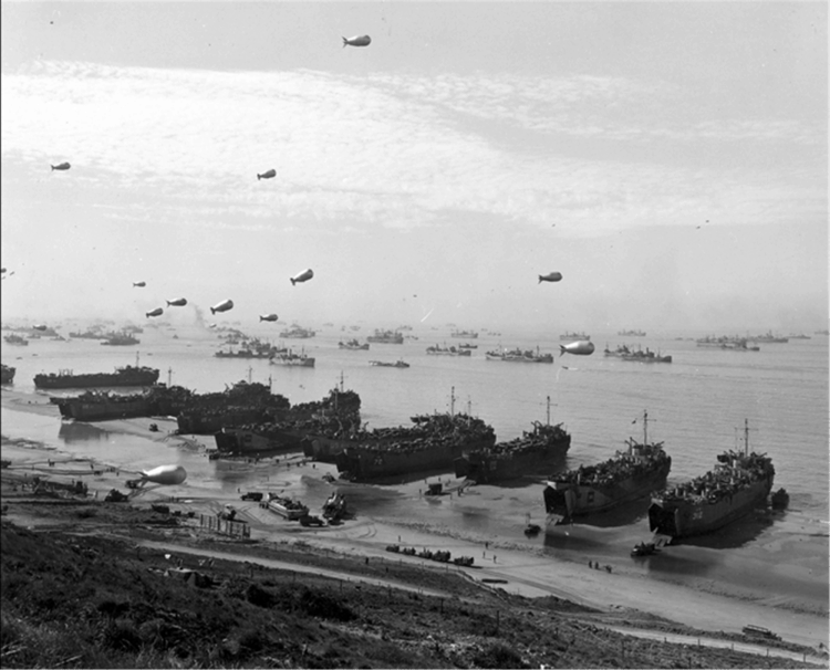 US Navy Seabees land at Normandy during World War II