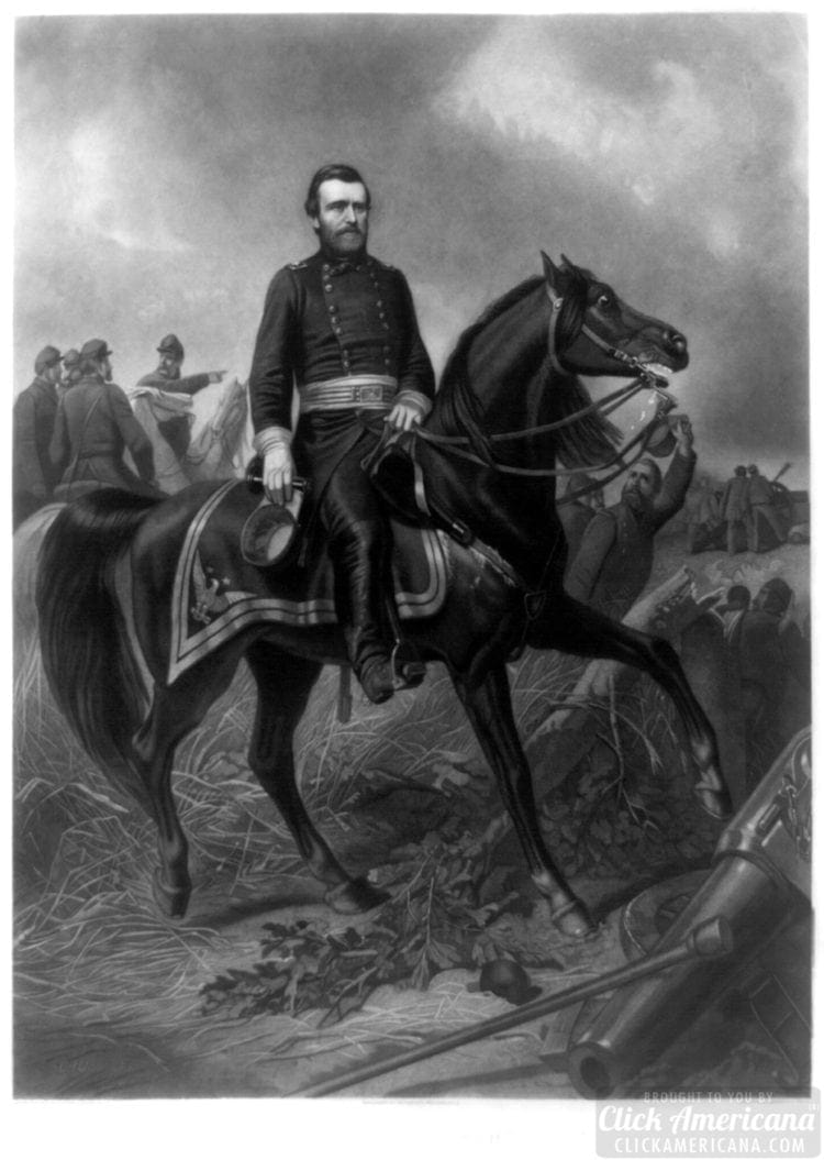 Ulysses S. Grant, full-length portrait, wearing military uniform, sitting on a horse