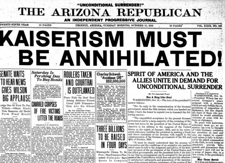 Unconditional surrender from Germany - Arizona Republic Oct 15 1918