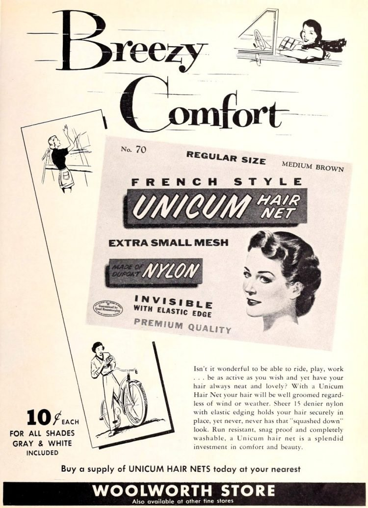 Unicum hair net - Bad old product names at Click Americana