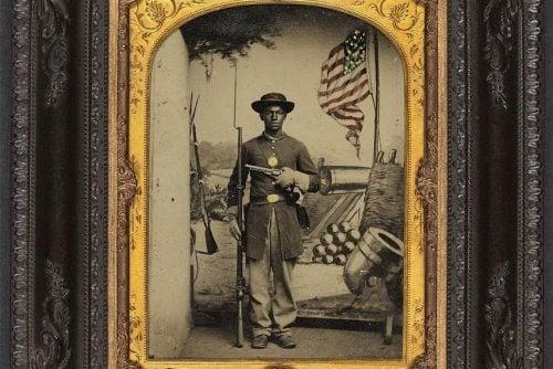 Unidentified African American soldier in Union uniform at Benton Barracks, Saint Louis, Missouri