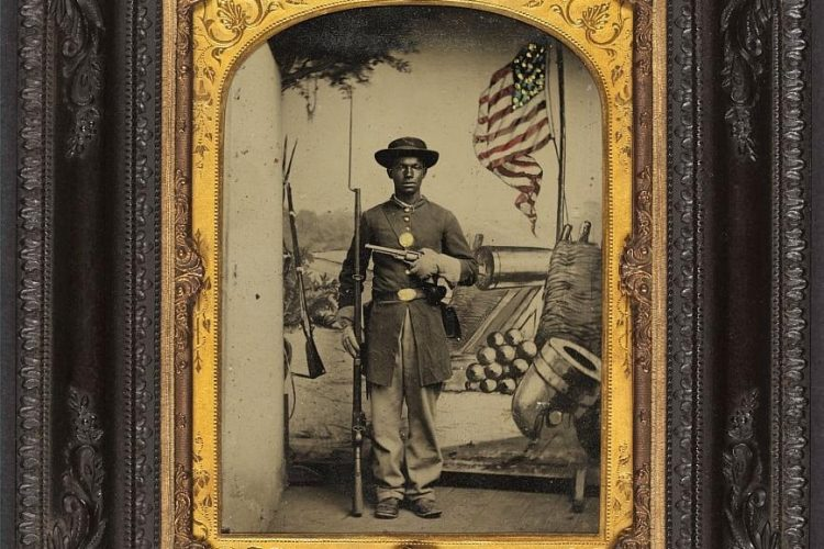 Unidentified African American soldier in Union uniform at Benton Barracks, Saint Louis, Missouri
