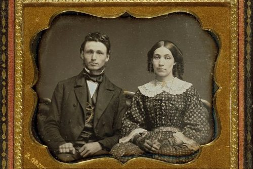 Unidentified husband and wife - Portrait c1855