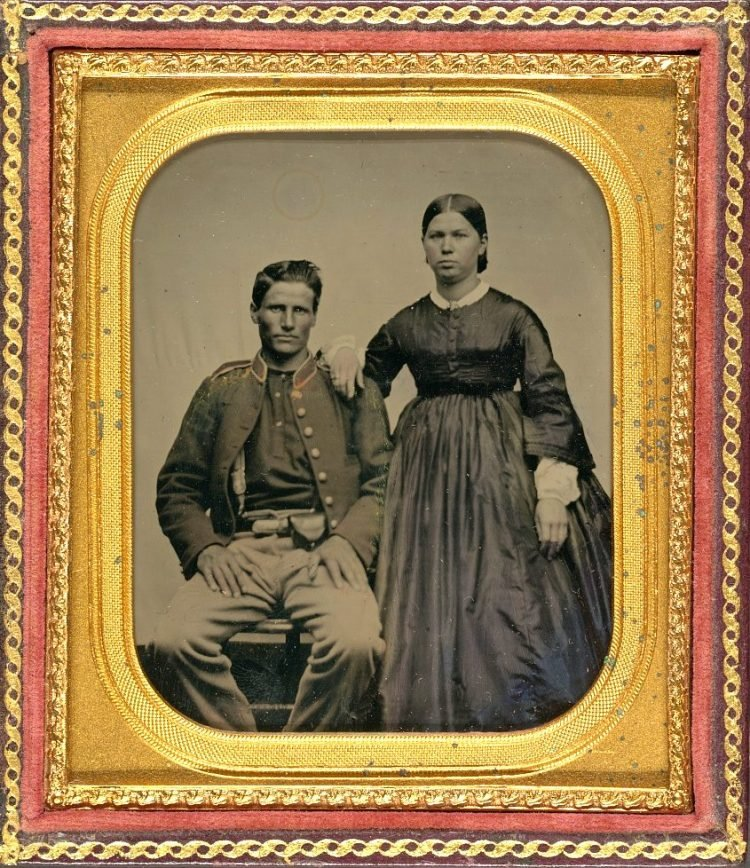 Unidentified soldier in Union uniform next to unidentified woman 1860s