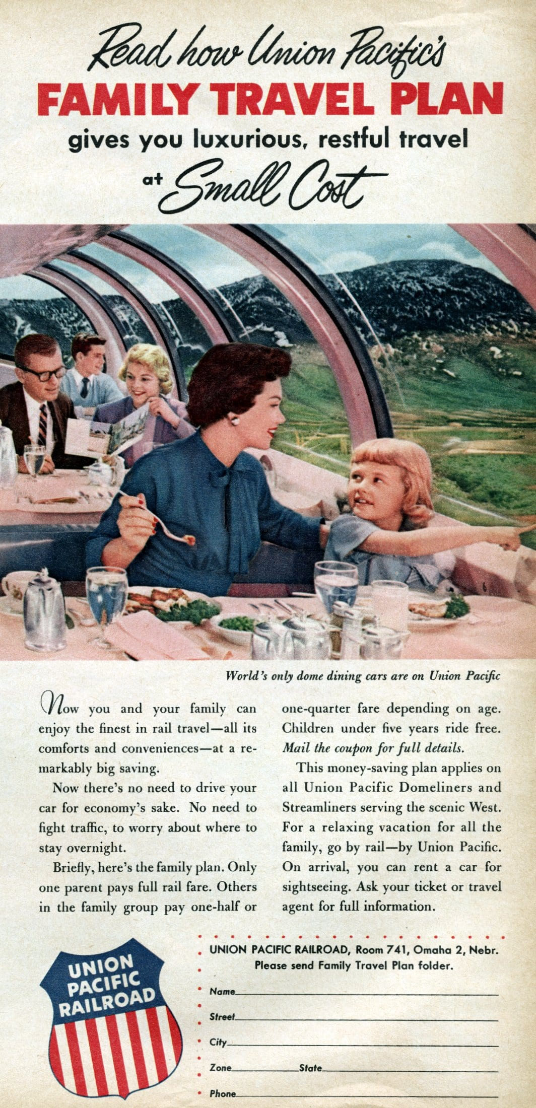 Union Pacific's Family Travel Plan gives you luxurious, restful travel (1956)